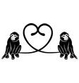 Animal love Couple of cute monkeys shaped heart of vector image