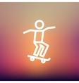Man skateboarding thin line icon vector image vector image