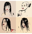 Set of sketch Beautiful girls vector image