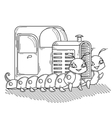 Tractor on the two cheerful and friendly vector image