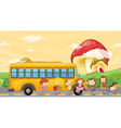 Students playing near the school bus vector image vector image