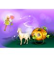 A fairy holding a flower with a pumpkin cart vector image