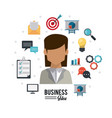 colorful poster of businesswoman with icons set vector image