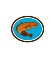 Burbot Fish Oval Retro vector image
