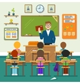 School classroom with schoolchild pupils and vector image