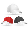 Baseball cap black white and red templates vector image