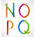 Colorful alphabet of pencils N O P Q vector image