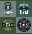 dumbbell and barbell poise and rod sport signs vector image