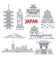 Famous travel landmarks of Japan thin line icon vector image