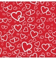 red seamless pattern with random hearts vector image