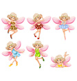 Six fairies with pink wings vector image