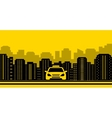 taxi background with city landscaping vector image
