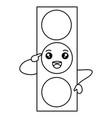 traffic light kawaii character vector image