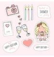 Bachelorette or birthday party stickers vector image
