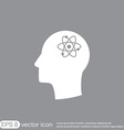 Icon head think silhoutte man and his mind about t vector image