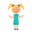 blonde girl with ponytails in happy childrens day vector image