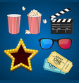 cinema icon realistic objects set vector image