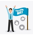 Follow me social and business vector image