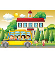 Students riding school bus to school vector image vector image