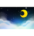 Night scene with moon and stars vector image