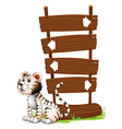 A tiger beside a signboard vector image vector image