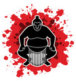 sumo pose sitting ready to fight graphic vector image