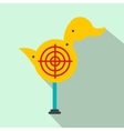 Yellow duck target flat icon vector image