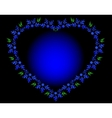 Blue heart with flowers and leaves for Valentines vector image