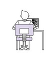 man working with computer vector image