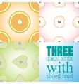 Three seamless pattern with slice of orange apple vector image