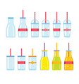 bottle glass cup icons set vector image