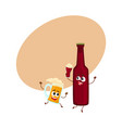 funny smiling beer bottle and mug characters vector image