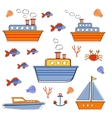 Colorful boats and ships collection vector image vector image