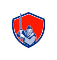 Samurai Warrior Katana Sword Shield Retro vector image