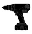 Electric drill Silhouette vector image