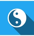 Yin Yang symbol icon with long shadow vector image