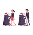 businessman and businesswoman pushing wheeled vector image