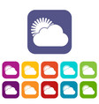 sun and cloud icons set vector image