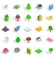 timber icons set isometric style vector image