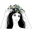 Young woman with flower wreath vector image vector image
