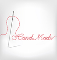 Needle with thread hand made isolated on white vector image