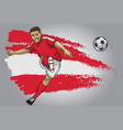 austria soccer player with flag as a background vector image