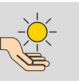 hands care sun warming gobal design vector image