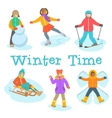 Kids winter outdoor games and activities cartoon vector image