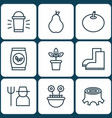 set of 9 plant icons includes grower duchess vector image