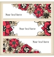Set of horizontal banners with floral doodling vector image
