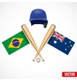 Symbols of Baseball team Brazil and Australia vector image