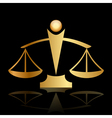 gold icon of justice scales on black background vector image vector image