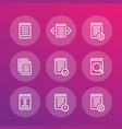 reports records documents line icons set vector image