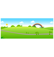 Path over the green landscape and rainbow vector image vector image